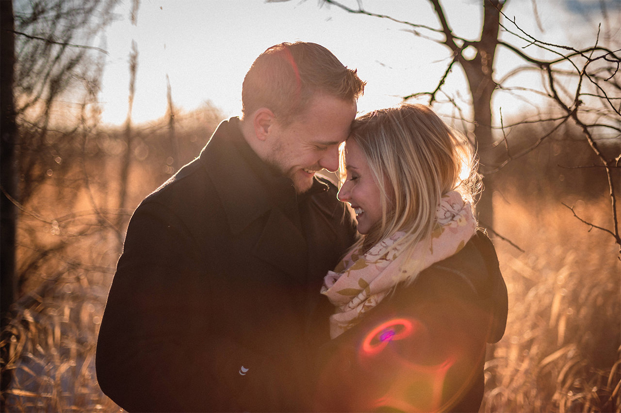 Winter Engagement Photos in Assiniboine Forest