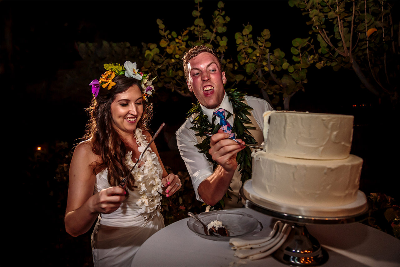 Bride and Groom smash the cake