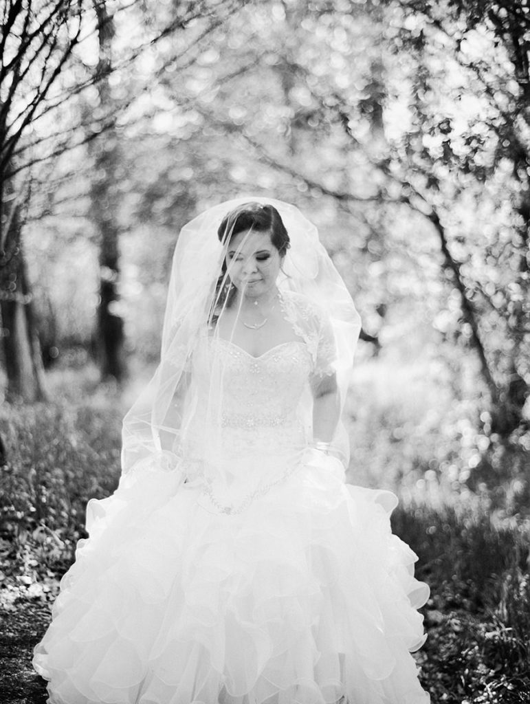 Stunning bride with veil in Winnipeg wedding
